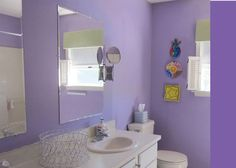 @Diane Henkler is looking to transform this childish bathroom - via MyColortopia.com