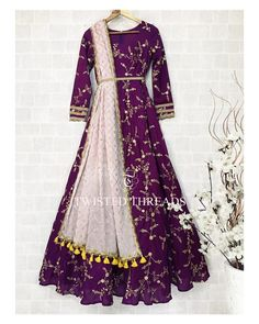 Deep Purple Twisted Threads Anarkali. Wear this gorgeous wine anarkali with tassels to a wedding party, or even to your own cocktail party. Comes with baby pink dupatta and yellow tassels. Click on image to see price. #Frugal2Fab