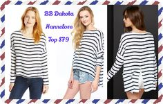 BB Dakota Hannelore Top: A loose, swingy BB Dakota top in two-tone stripes. The uneven hem has a high, centered slit. Dropped shoulder seams. Long sleeves.  Fabric: Soft weave.  100% rayon.  Hand wash.  available sizes XS-L