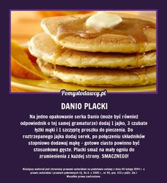 Great pancakes with yoghurt Danio Eat Breakfast, Breakfast Recipes, Good Food, Yummy Food, Baby Eating, Healthy Dishes, Diy Food, Food Hacks, Food Inspiration