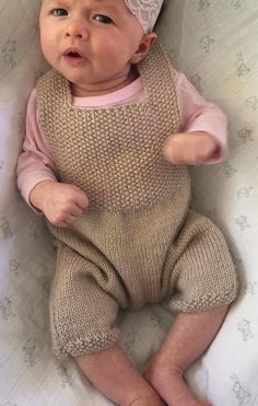 Free Knitting Pattern for Easy Florence Baby Overalls - Little short overalls for baby boy or girl in 2 sizes 3-6 and 6-9 months.  Designed by Debbie Bliss. Pictured project by stennas