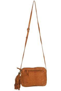 Tan Soft Tassel Cross Body Bag