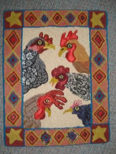 Chicken heads hooked by Ruth Viste, pattern by Bev Conway