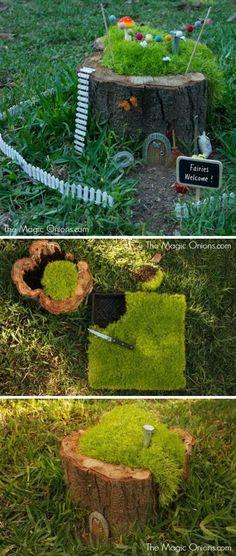 DIY Fairy Garden in a Tree Stump.