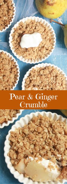 The quickest, easiest fruit crumble, filled with warming spices and sweet pears!
