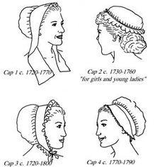 Some 18th century style caps, an essential part of most European women's daily clothing.