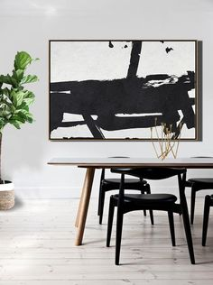 CZ Art Design. Horizontal Minimal Art, minimalist painting on canvas, black and white large canvas art #MN47E. for contemporary homes. Interior design decor.