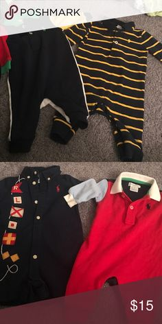 3 month polo lot 3 long sleeve outfits and 1 short sleeve outfit. All in the bundle Polo by Ralph Lauren One Pieces Bodysuits