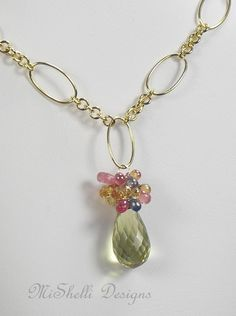 Lemon Quartz Sapphire Gemstone Gold Filled Necklace