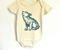 Organic Howlin Wolf Onesie / any size / hand printed / pick your print color. $24.00, via Etsy.