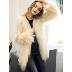 $18.61 Colllarless Open Front Faux Fur Coat - Beige S