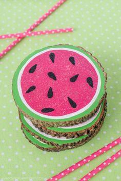 Dollar Store Crafts - Wood Slice Watermelon Coasters - Best Cheap DIY Dollar Store Craft Ideas for Kids, Teen, Adults, Gifts and For Home - Christmas Gift Ideas, Jewelry, Easy Decorations. Crafts to Make and Sell and Organization Projects http://diyjoy.com/dollar-store-crafts