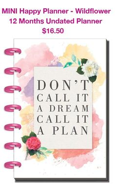 """12 month mini planner is undated. It is expandable, disk-bound planner system. 5.125"""" x 7.5"""""""