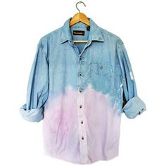 90s Grunge Unisex Pastel Purple Dip Dye Ombre Denim Long Sleeve Shirt... ❤ liked on Polyvore featuring tops, long sleeve shirts, blue denim shirt, long sleeve tops, purple long sleeve shirt and blue shirt