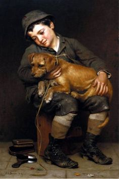 """""""Friends"""", by English-born American artist - John George Brown (1831-1913), Oil on canvas.:"""
