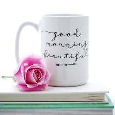 Good Morning Beautiful coffee mug. Lettered typographic calligraphy mug. Gift idea for her by Milk & Honey.