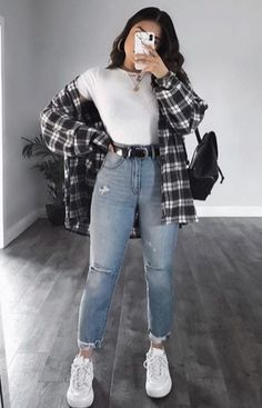 Trendy Fall Outfits, Retro Outfits, Cute Casual Outfits, Stylish Outfits, Cute Flannel Outfits, Simple Outfits, Summer Tomboy Outfits, Edgy School Outfits, College Outfits