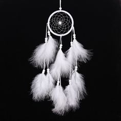 Handmade Dream Catcher Net with Feather Wall Hanging Decor Ornament White Craft Bedroom Gift Dreamlike Attrape Reve Dream Catcher Price, Grand Dream Catcher, Dream Catcher Craft, Large Dream Catcher, Feather Dream Catcher, Dream Catchers, Decor Crafts, Home Crafts, Feather Crafts