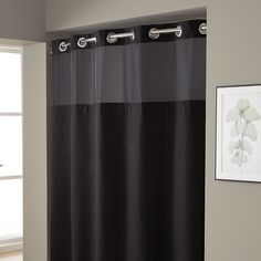 striped gray shower curtains give bathrooms a strong, masculine design... 50 Shades of Grey Interior Design Inspiration: Masculine Gray Bathrooms from Bathroom Bliss by Rotator Rod