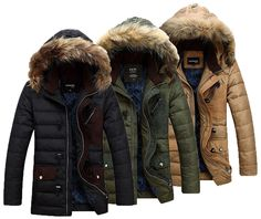 Men Warm Parka Fur Collar Hooded Winter Thick Duck Down Coat Outwear Down Jacket #Other #Parka