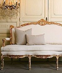 Vintage Shabby Gilt Louis XV French Style Settee-settee, couch, gold, floral, leaf, hand carved, carved, wood, upholstered, furniture, cream,elegant,scalamandre,