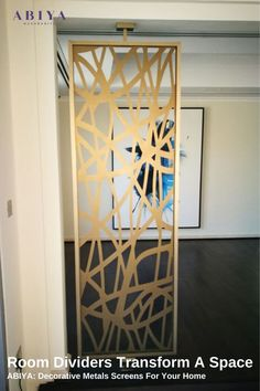 Example of how you can take a ABIYA Mashrabiya Pattern and make it into a Room Divider that transforms a space. Our Metal Decorative Screens come in various patterns, colours and sizes and are designed and manufactured in Dubai. Visit our website to learn more and purchase your next Room Divider Decor Interior Design, Interior Decorating, Decorative Screen Panels, Room Partition Designs, Privacy Screen Outdoor, Laser Cut Metal, Room Decor, Wall Decor, Room Dividers