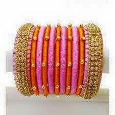 bangles by rairikashah-Pink And Orange Unique Silk Threaded Bridal Bangles Silk Thread Bangles, Thread Jewellery, Jewelry, Bridal Bangles, Some Ideas, Perfect Wedding, Feminine, Bride, Unique