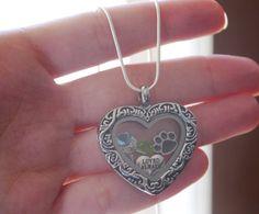 Pet Memorial Gift, Dog Memorial Locket, Cat Memorial Locket, Paw Angel Wings Locket, Heart Locket, Birthstones Locket, Always Loved Locket