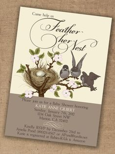 love these~  Cute lil birds feather nest baby shower invitation