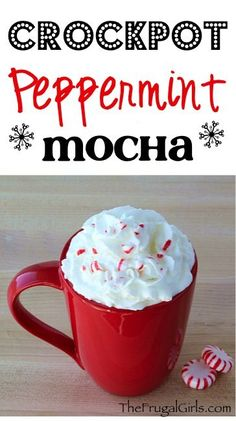 Crock Pot Peppermint Mocha Recipe! {plus some fun family holiday traditions!} This is the perfect, festive coffee drink to serve at your Christmas parties. Serve it hot straight from the Slow Cooker, then top with whip cream and crushed candy canes!! @Starbucks #MakeItMerrier #holidays #ad   TheFrugalGirls.com