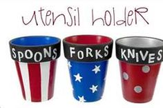 Clay pot utensil holders for a Memorial Day or Fourth of July party! 4. Juli Party, 4th Of July Party, July 4th, July Crafts, Holiday Crafts, Holiday Fun, Kid Crafts, Holiday Ideas, Summer Crafts