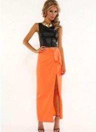 Neon orange skirt with slit and front tie