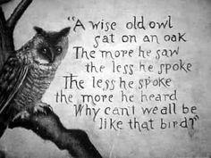 A Wise Old Owl: A Wise Old Owl ~  Inspirational Inspiration