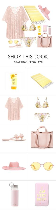 """""""I am very busy"""" by kimzarad1 ❤ liked on Polyvore featuring Linum Home Textiles, Melissa Odabash, Zimmermann, Melissa, Corto Moltedo, Gigi Burris Millinery, RetroSuperFuture, Kate Spade, ban.do and Summer"""