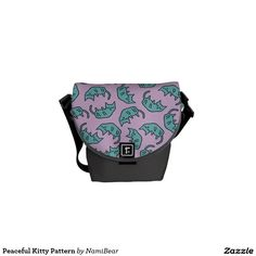 Peaceful Kitty messenger bag by NamiBear on Zazzle.com. A drawing of a cute kitty sleeping. Very pop and kawaii pattern.
