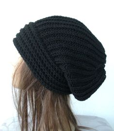 Slouchy beanie Hand Knit Hat Womens hat  chunky knit by Ebruk, $35.00