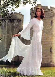 Vintage CROCHET Dress Pattern MAXI Pattern PDF by KinsieWoolShop
