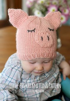 Little Pig Hat Baby KNITTING PATTERN - knit pig hat pattern for babies, infants, toddlers - sizes 0-3 months, 6 months, 12 months, 2T+ by LittleRedWindow