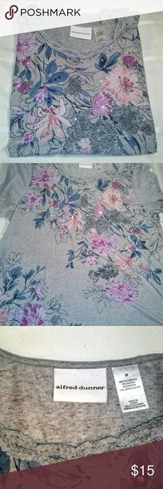 Alfred Dunner Floral Embellished Pullover Gorgeous Floral pullover. Just love this shirt. Colors are beautiful. 3/4 sleeve Very good condition,no issues. Super Fast Ship!  Inv#01710A Alfred Dunner Tops Tees - Long Sleeve