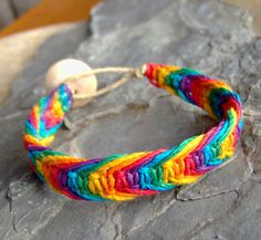 Hemp Bracelet or Anklet - Rainbow Hemp Bracelet - Hemp Jewelry - Fishbone Knot by KnottyandNiceHemp on Etsy, $7.00