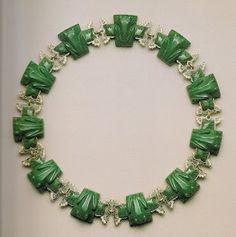 René Lalique. 'Frogs' necklace.Gold, enamel, glass, diamonds. France, 1902-03.