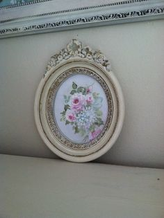 Hand painted roses and hydrangeas in vintage frame. By Karen Fleming