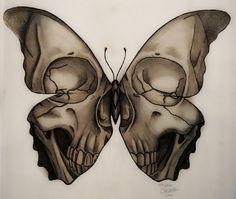 """medusa-illustration: """"skull butterfly - Tattoo Design Marie Caldwell - Medusa Illustration """""""