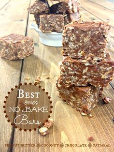 Peanut Butter Oatmeal No Bake Bars!  These are amazing!!  Coconut, Peanut Butter, Chocolate and Oats!  Saving this one for later when I REALLY need it!!