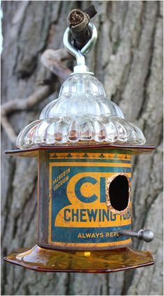 Orange Blue Bird House Vintage Club Tobacco Tin Upcycled Birdhouse Chewing Tobacco Woodland Repurpose Antique Glassware Rustic Bird Feeder