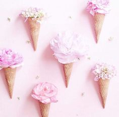I gotta try this! fills ice cream cones with light pink flowers