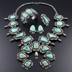 NAVAJO SILVER TURQUOISE SQUASH BLOSSOM NECKLACE BRACELET RING SET by KIRK SMITH