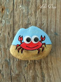 Crab Painting, Pebble Painting, Pebble Art, Stone Painting, Painted Rock Animals, Painted Rocks Craft, Hand Painted Rocks, Rock Painting Patterns, Rock Painting Ideas Easy