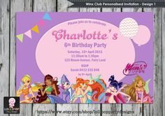 WINX CLUB PERSONALISED INVITATION - DIGITAL DOWNLOAD FILE  This Winx Club inspired invitation can be personalised with your childs name and