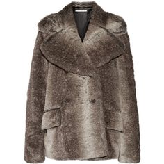 Alessandra Rich Faux fur jacket (203.875 HUF) found on Polyvore featuring women's fashion, outerwear, jackets, brown, faux fur jacket, loose jacket, brown faux fur jacket, double breasted jacket and thick jackets
